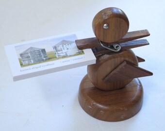 Danish Modern Desk Accessories Large Wooden Paperclip Hans Bolling Duck Teak Wood Duckling Clothespin Business Card Holder Scandinavian Bird
