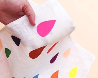 Bright Raindrop Off White Linen Tea Towel