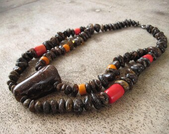 Amber Coral Bib Necklace Red Orange Chunky Ethnic Style Jewelry Natural Raw Gemstone Huge Big Large Black Dark Unpolished  African Tribal
