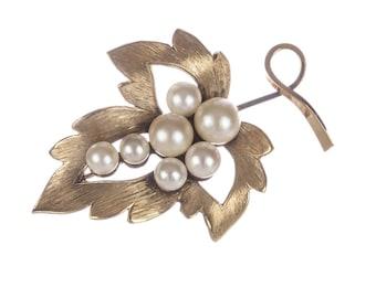 14 kt Gold Filled Sterling Pearl leaf Brooch/Pin