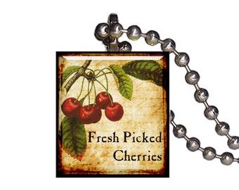 Vintage Fresh Picked Cherries Cherry - Reclaimed Scrabble Tile Pendant Necklace