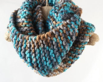 knit circle scarf knitted scarf knit chunky cowl handmade from big yarn sheep wool