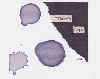 "There's Hope - 3""x3"" Mantra Magnet  - Blackout Poetry and Tea"