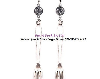 PUT A FORK In It - Silver Fork Earrings For That Foodie