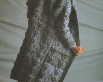 Womens Coat PDF Knitting Pattern . 32 - 34 and 36 - 38 inch chest . Patterned . Instant Digital Download