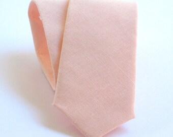 Lotus petal pink linen necktie. Light pink linen tie