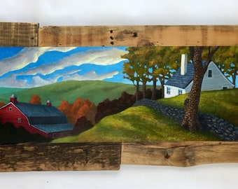 AVAILABLE NOW// Landscape painting , acrylic on wood, barn, country home,clouds, sky,blue,green, earth, nature, reclaimed, wood art