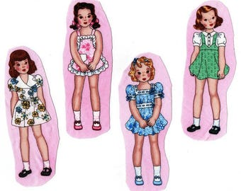 Textile sewing applications: 4 images sewing dolls US baby doll Retro. So cute!