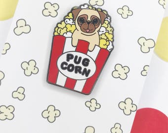 Pug-Corn Enamel pin!