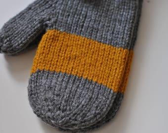 Ready made : center stripe mittens (child medium)