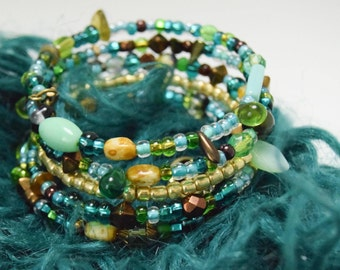 Enchanted: Blue Teal and Green Memory Wire Bracelet