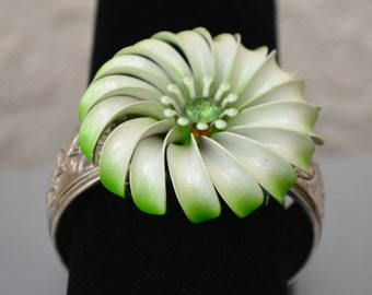 Floral Assemblage Cuff Bracelet with Vintage Components