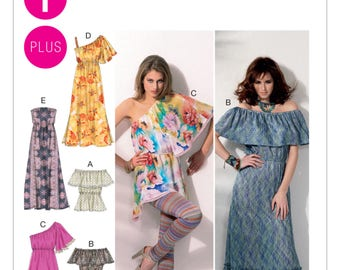 Sewing Pattern Misses'/Women's Off-the-Shoulder, Gathered Top, Peasant Tops and Tunics, Maxi Dresses, McCall's Pattern 6558, Plus Sizes