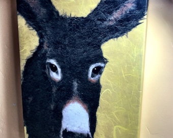 Burro, Donkey Pack Animal Signed and Numbered Limited Edition Giclee Print 12x16 Canvas or wood panel mount