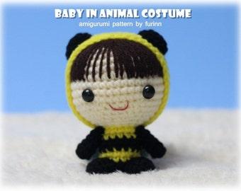 INSTANT DOWNLOAD Amigurumi Pattern Baby in Bee Costume