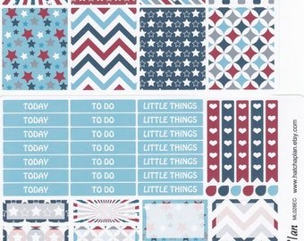 4th of July Planner Stickers   Independence Day Planner Stickers   Fits Erin Condren Life Planner   Fits Happy Planner   Weekly Kit   ML028