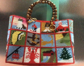 Tapestry panel bag from 1960s USA,winter scenes