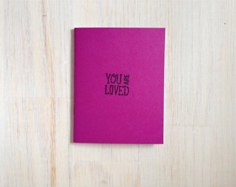 Medium Notebook: You Are Loved, Magenta, Friendship, Blank Journal, Wedding, Favor, Journal, Blank, Unlined, Unique, Gift, Notebook, Y256