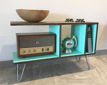 Cantilever Media Console, Vinyl Record Cabinet, Storage, Mid Century, Coffee Table, Hairpin Legs, TV, Entertainment, Credenza