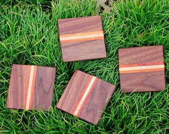 Handcrafted Exotic Hardwood Coaster Set