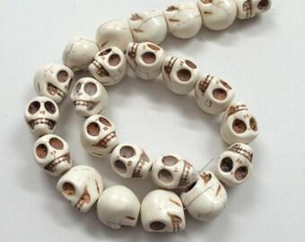 Bone White Howlite - skull beads- 18mm - 23 beads - Full Strand