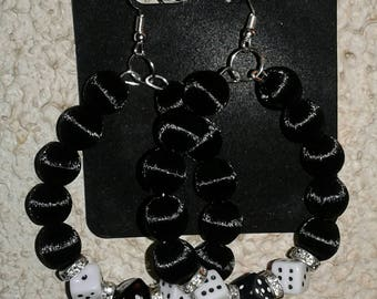 Black casino dice earrings