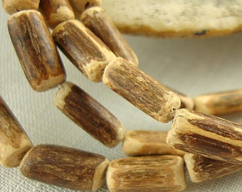 Coconut Tube Bead, Brown and Tan Bead, Coconut Wood Beads,  - 30 Inch Strand