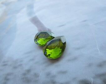 Vintage 80's Czech Glass 18x13mm Olivine Faceted Pear Teardrop Doublet Gems 2Pcs.