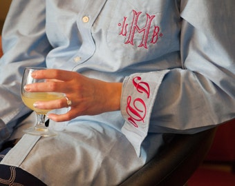 Rustic Chic Wedding Party Shirt  -  Monogrammed Button Down Gettting Ready Shirt for Bride