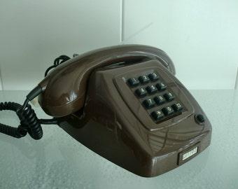 Retro Telefoon Mocca / Brown  PTT Type T65 de Luxe met druktoetsen