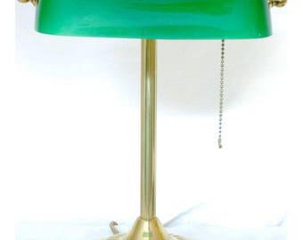 Vintage green glass banker's lamp  gold-tone brass metal