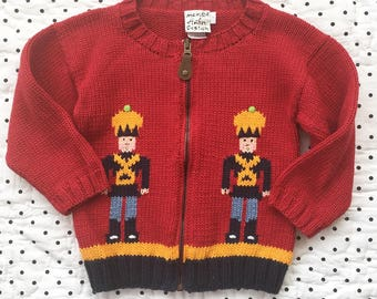 Vintage 90s Toy Soldier Red Zippered Sweater Cardigan Boys Sz 2T 3T