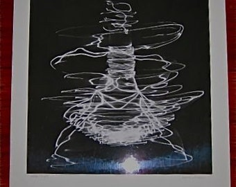 Vintage 50s Mod  Abstract ROBOT Photograph Photo Signed Matted Rare  Light Pen  Huge Oversized