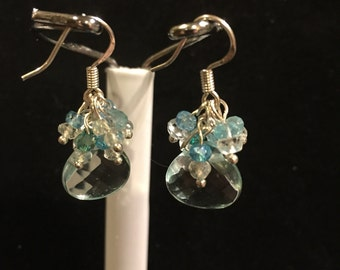 Gemstone earrings, aquamarine briolettes,women's earrings
