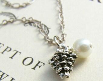 Silver Pine Cone Necklace, Pine Cone Pendant Necklace, Silver Charm Necklace, Silver Plated Pinecone, Pine Cone Charm