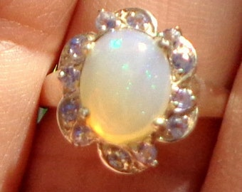 Sz 7, Ethiopian Welo Opal Ring, Natural Gemstone, Multi-Color Flash, Sterling Silver Ring, Blue Sapphire Accents, Fine Jewelry