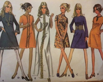 SALE Nice Vintage A-line Dress with Trim and Neck Variations---McCalls 2004