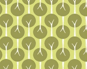SALE 1/2 Yard Organic Cotton Fabric - Monaluna Urban Patch - Tree Lined Leaf LAST ONE