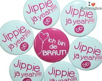 10xHochzeitsbuttons hen JGA pink heart balloon