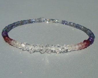 Herkimer Diamond Bracelet, April Birthstone, Iolite Bracelet, Shaded Toumaline Bracelet, Ombre Bracelet, Dainty Beaded Bracelet