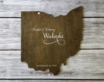 Wedding Guest Book Alternative. State Guest Book. Wood Guest Book. Custom State Sign. Personalized State Sign. Wood State Cutout, Ohio