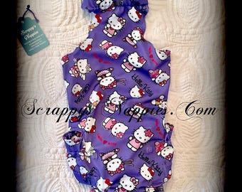 Scrappy's Nappies Purple with Pink kitties Fabric Choice