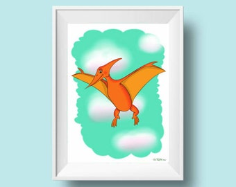 printable nursery decor, digital download , dinosaur print, kids wall art, Illustration, painting, drawing, boy room decor
