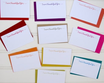 I Am Thankful Mini Cards, Thank You Mini Cards, Thankful Cards, Mini Note Card Set, Lunch Box Notes, Gift Card, Mini Envelopes, Place Cards