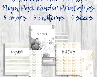 Set of 15 Printable Binder Covers/Inserts w/ Spines | Free Font | Customizable | Watercolor Mix&Match Pack | 5 Colors | Instant | MhmmCrafts