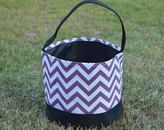 Personalized Halloween Trick or Treat Bucket-Purple Chevron