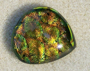 Dichroic Glass Cabochon - Fantastic Multicolored Pear, Handmade by JewelryArtistry - DC830