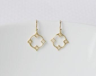 Diamond earrings, gold earrings, sterling silver earrings, moroccan, nimbus, star, geometric, tiny, simple, delicate, dainty earrings, Mosha