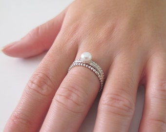 Sterling Silver Ring, Silver Beaded Ring, Silver Bridal Set Ring, Thin Silver Ring, Freshwater Pearl Ring, Stackable Pearl Ring, Simple Ring