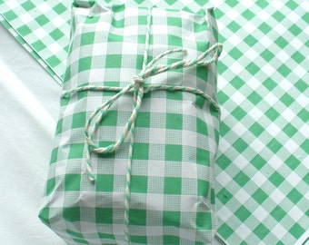 """Green Gingham Food Safe Wrapping Paper 25 sheets 10"""" x 15"""""""